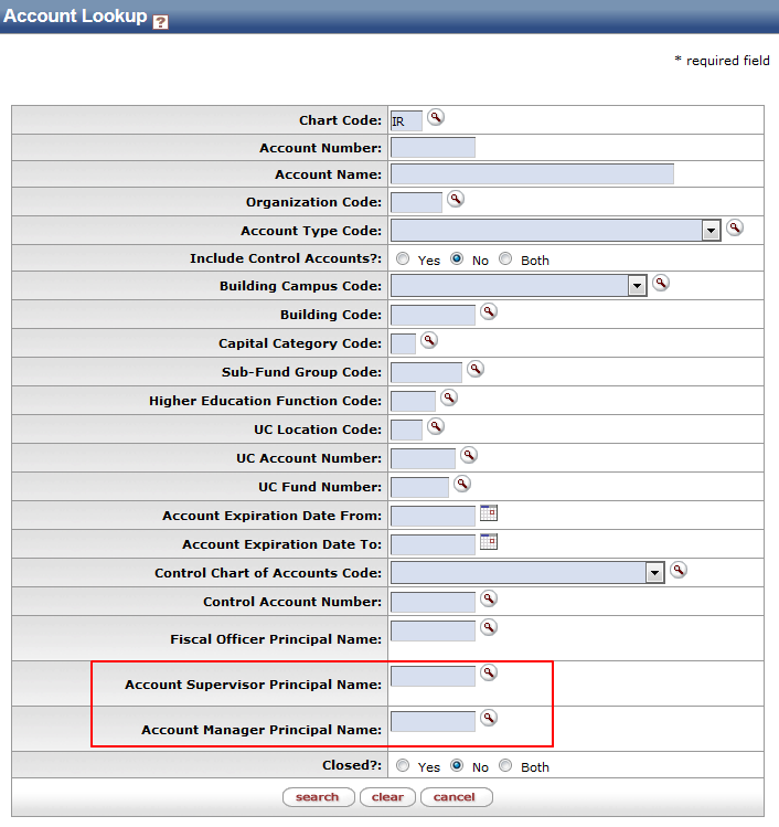 Shows the account lookup search window with two new fields for Account Supervisor and Account Manager.