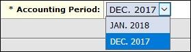 Drop-down menu showing both accounting periods.