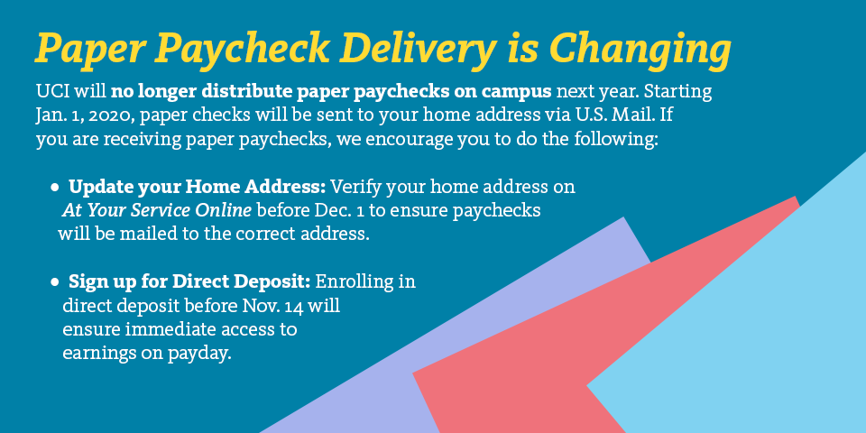 Paychecks won't be distributed on campus starting next year