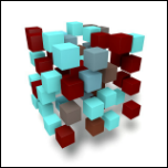 Illustration of small cubes arranged to form a larger cube