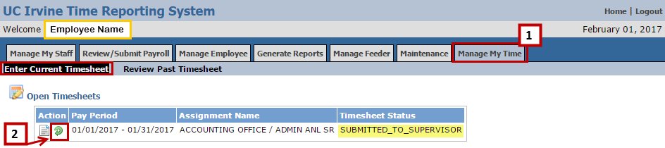 Go to the Enter Current Timesheet section of your Manage My Time tab. Under the Open Timesheets heading, you will see a Recall icon (green circular arrow) in the Action column.