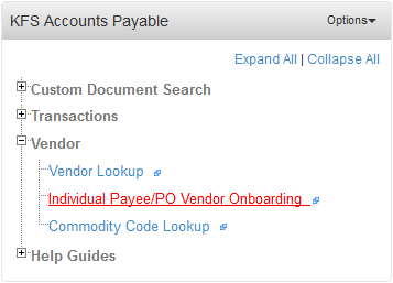 KFS Accounts Payable Portlet. The Individual Payee/PO Vendor Onboarding link is highlighted.