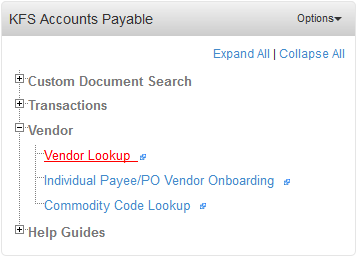 KFS Accounts Payable Portlet. The Vendor Lookup link is highlighted.