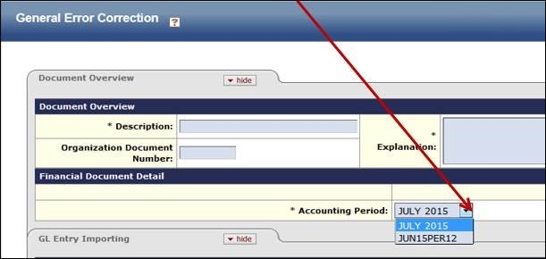 Location of the Accounting Period Drop-Down in the Doc Overview tab