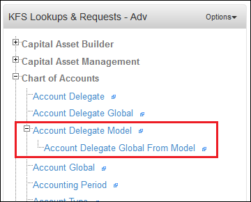 Location of the Account Delegate Global from Model link in the KFS Lookups and Requests Portlet