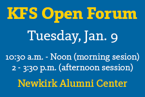 Open Forum on Jan. 9. See article for details.