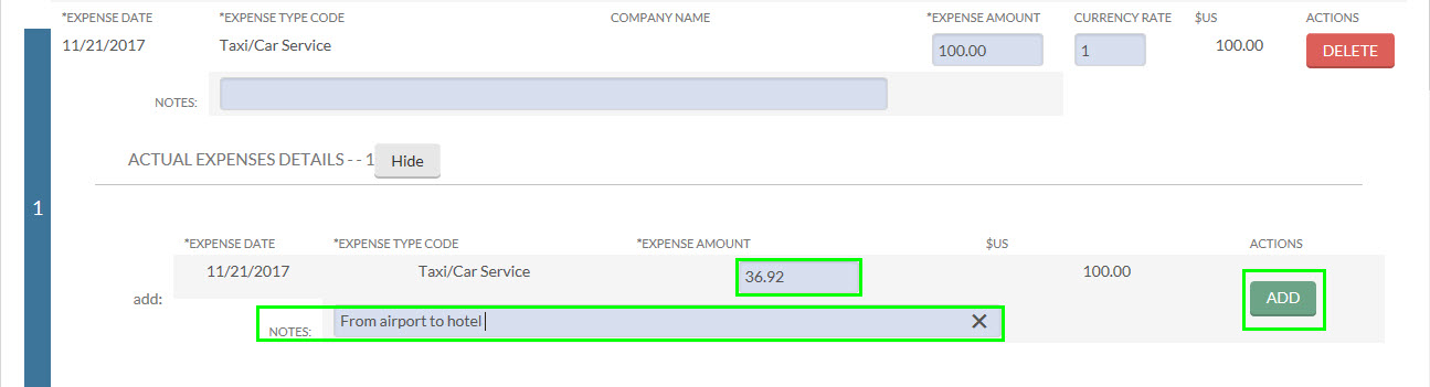 the expense field, note field and, add button are highlighted