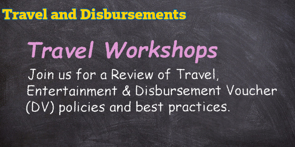 Travel Workshop schedule
