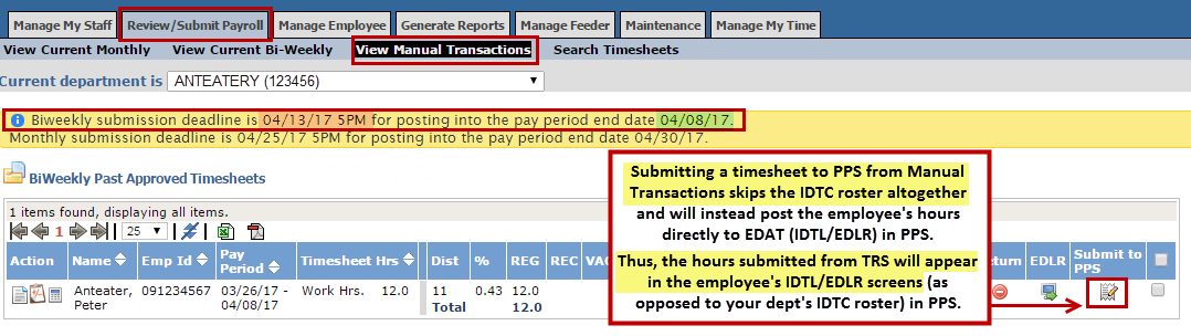 Example of submitting a timesheet via Manual Transactions section in TRS