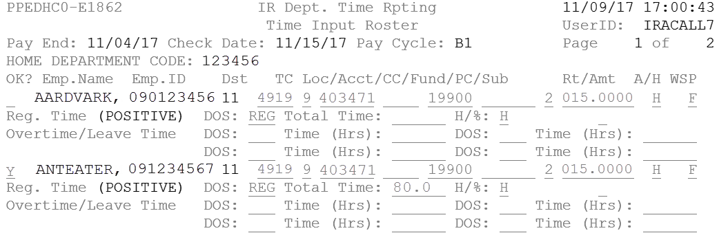 Example of hours successfully submitted from TRS timesheet to PPS IDTC roster