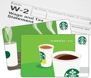 A w-2 form shown with starbucks cards